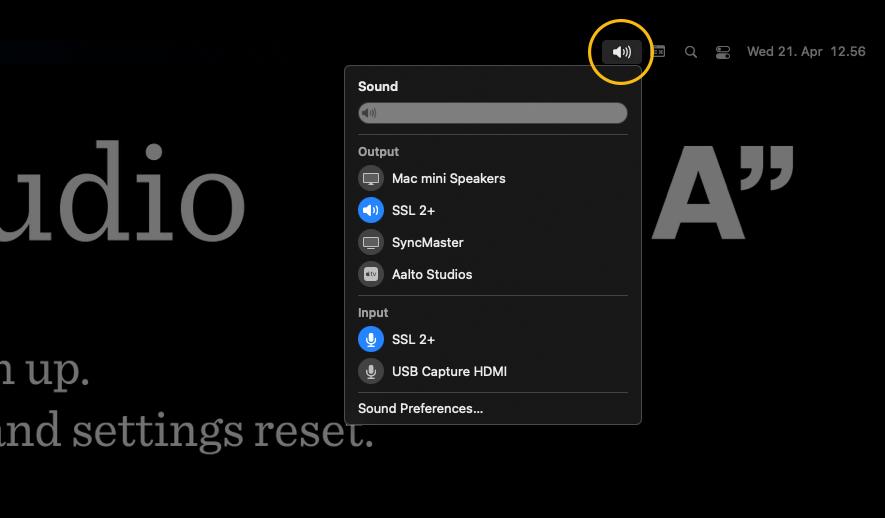Screen shot of sound menu bar control